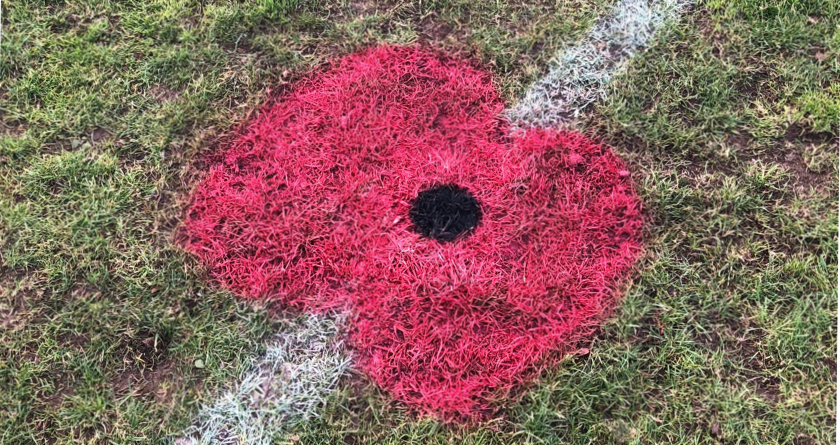 Poppy pitch markings at Hilton Harriers FC