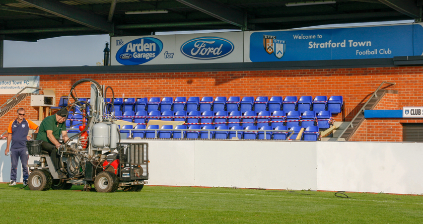 Terrain Aeration help cure waterlogging at Stratford Town FC